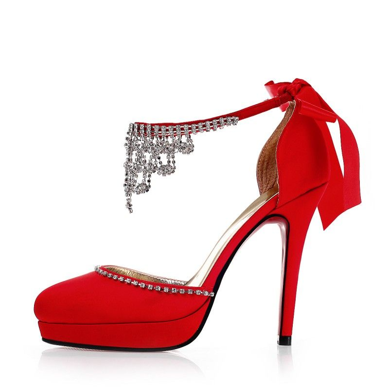 fabulous 2014 satin rhinestones strappy red wedding shoes