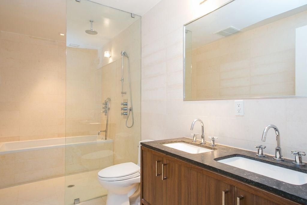 Contemporary Master Bathroom with Flush, Classic Rectangular Undermount Bathroom Sink with Overflow by DecoLav, Rain shower