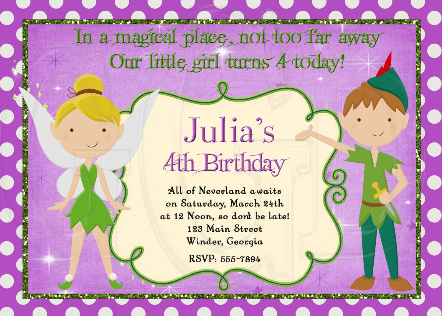 Peter Pan and Tinkerbell Inspired Birthday Invitation-Digital File ...