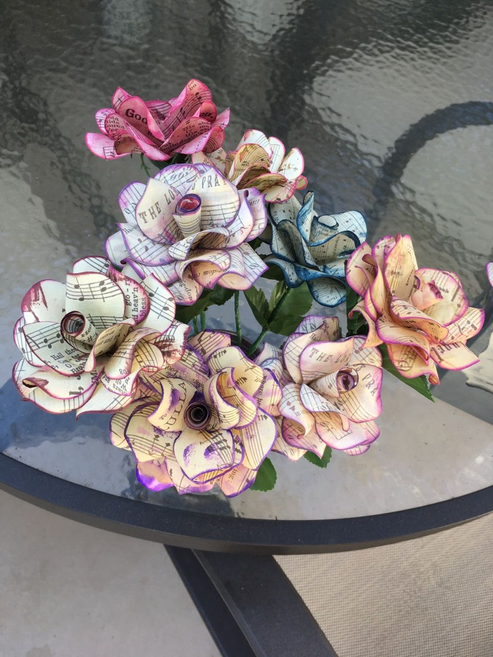 Paper roses w sheet music paper roses paper flowers