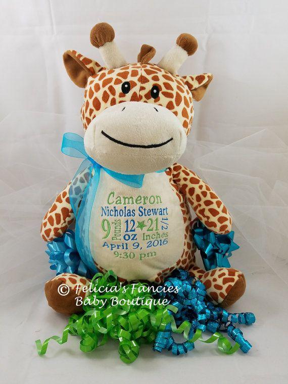 Birth Announcement Giraffe Stuffed Animal By Feliciasfancies