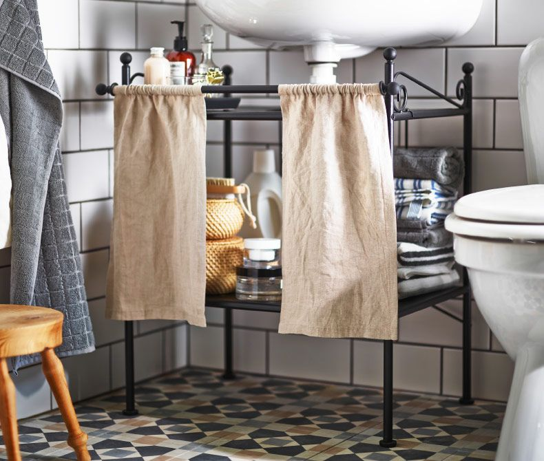 Charming No Need To Waste Space Under The Sink With A Wash Basin Shelf With Curtains  To Hide Those Unsightly Bathroom Items.