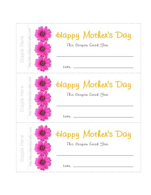 Print out Motheru0027s Day coupons and even a matching envelope - coupon template free printable