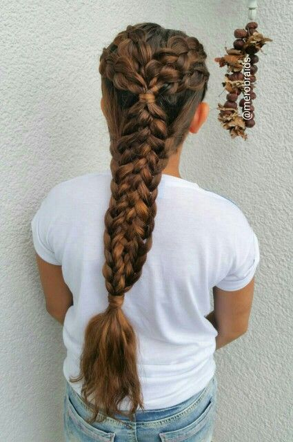 Combo braids. ..Dutch pull backs into a 5strand braid with weaved french braids