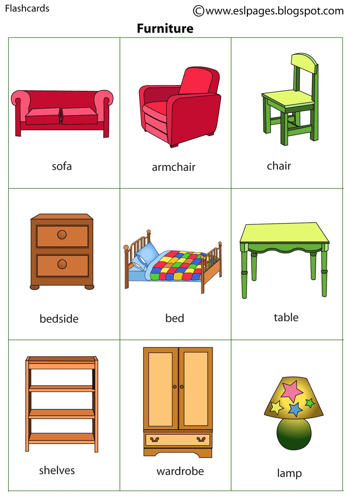 R sultat de recherche d 39 images pour furniture flashcards for Mobilia in inglese