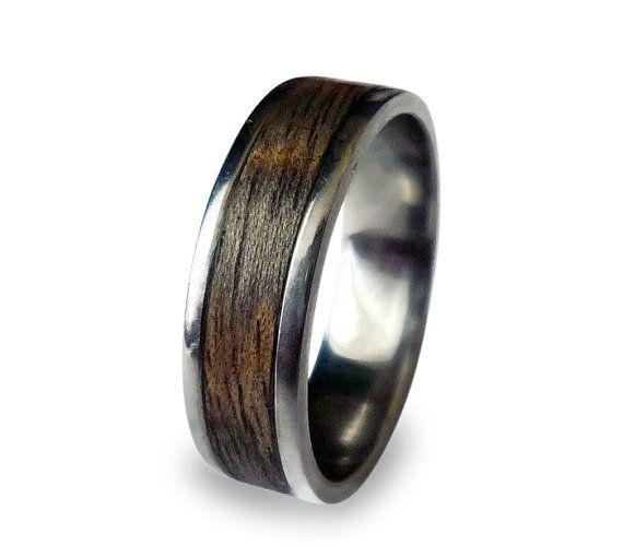Mens Wedding Ring Titanium Ring Mens Titanium Wedding Band Wooden Wood Ring Wrapped Wood Inlay Titanium Wedding Band Mens Titanium Wedding Rings Wood Wedding Ring