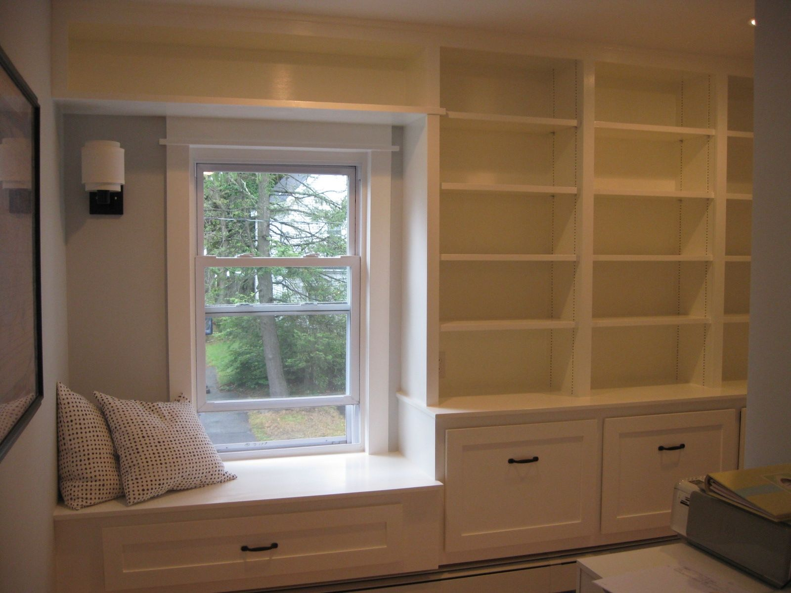 Bay Window Seat Off Center Window Window Seat Design Bookshelves Built In Bedroom Built Ins