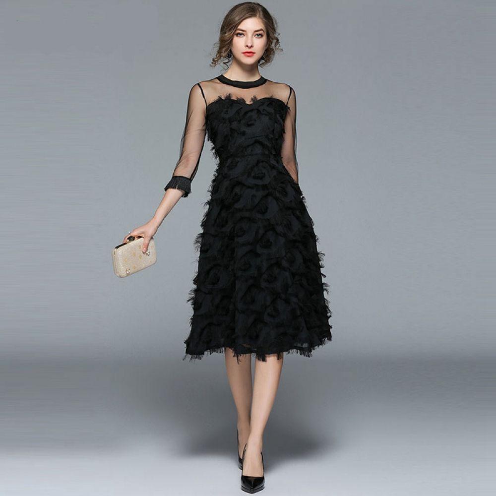 فستان سهرة أنيق بأكمام تل شفافة جديد الأزياء الكورية Womens Dresses Fashion Dress Party Women Cheap Dresses
