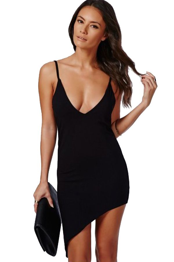 Sexy Short Black V-Neck Dress