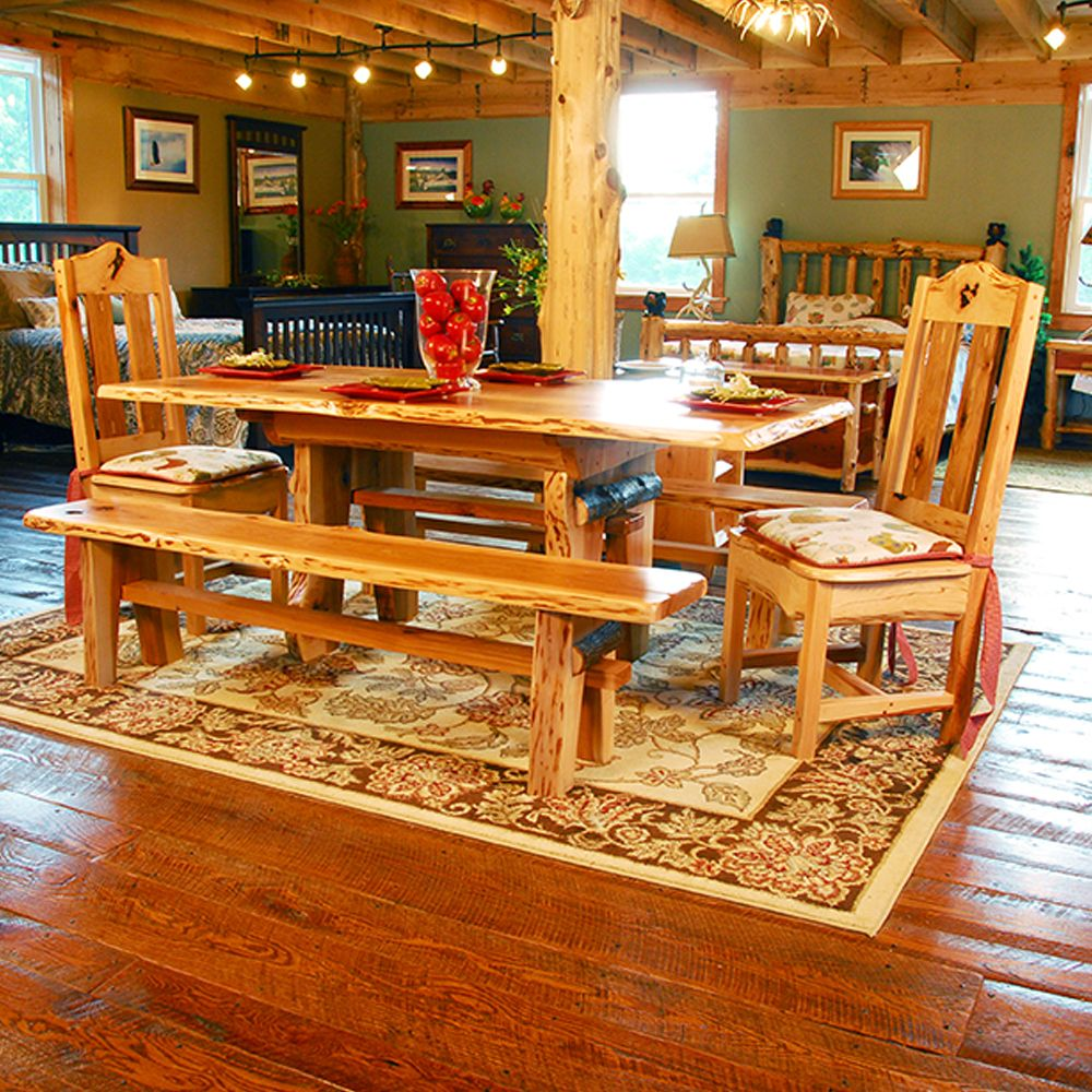 Lewis & Clark Rustic Hickory Table with Dark Bark Accents