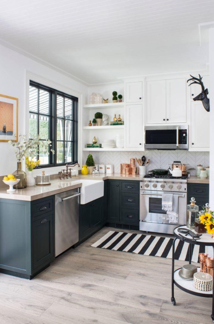 dark green copper white yellow  simple kitchen design