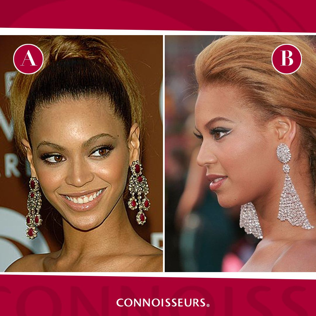 Which pair of Beyonce's earrings do you like better, A or B?
