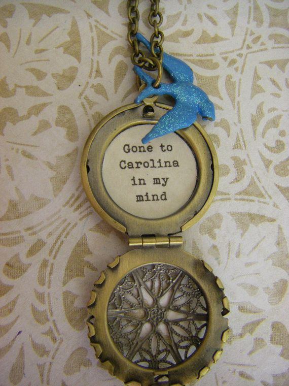 Bluebird Locket quote necklace Gone to by BellaHopeLockets on Etsy