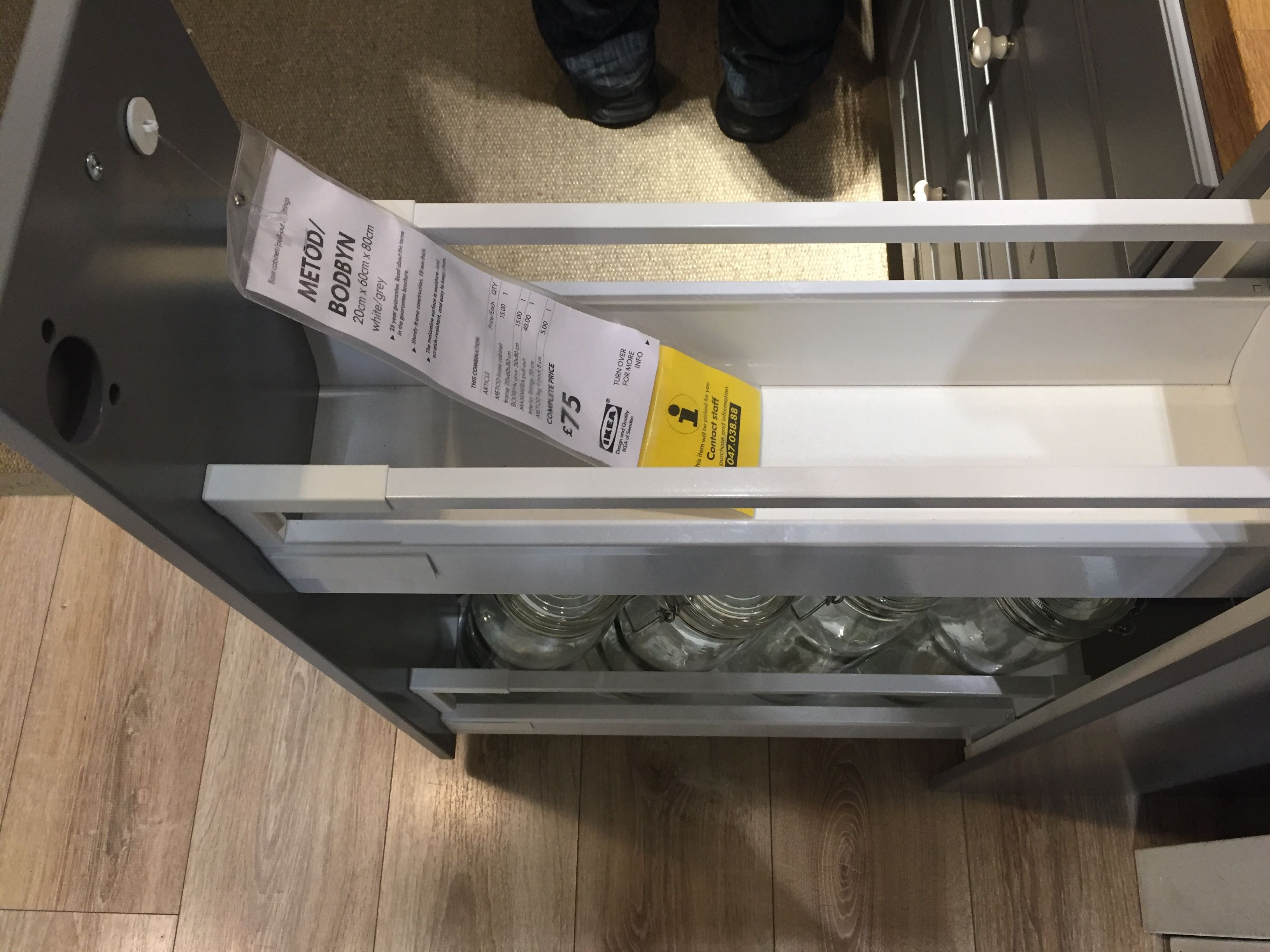 Ikea Küche 20cm Metod Base Cabinet Pull Out Int Fittings White Bodbyn Off White