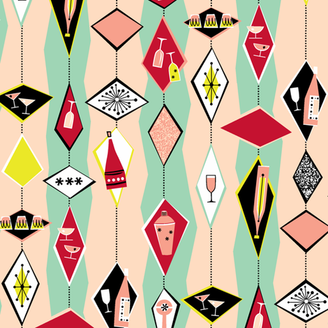 I'm seriously considering ordering some of this fabric from Tuppence Ha'penny for our kitchen interior... Cocktail Diamonds Light fabric by tuppencehapenny on Spoonflower - custom fabric