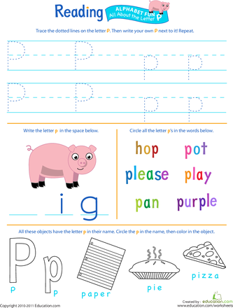 Get Ready For Reading All About The Letter P