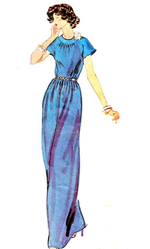 1970s Evening Dress Pattern Vogue Paris Original by paneenjerez, $16.00