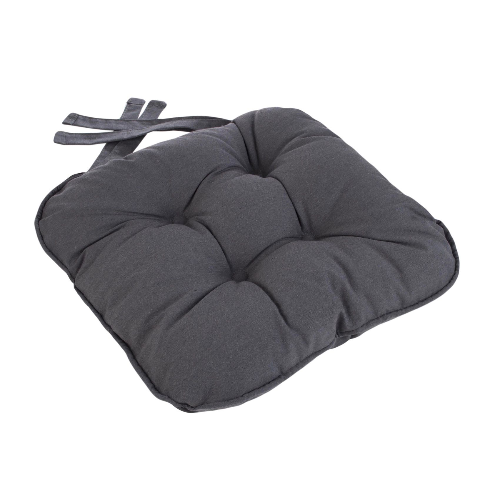 Eton Piped Chunky Seat Pad Cushion Grey Charcoal Kitchen Cushions