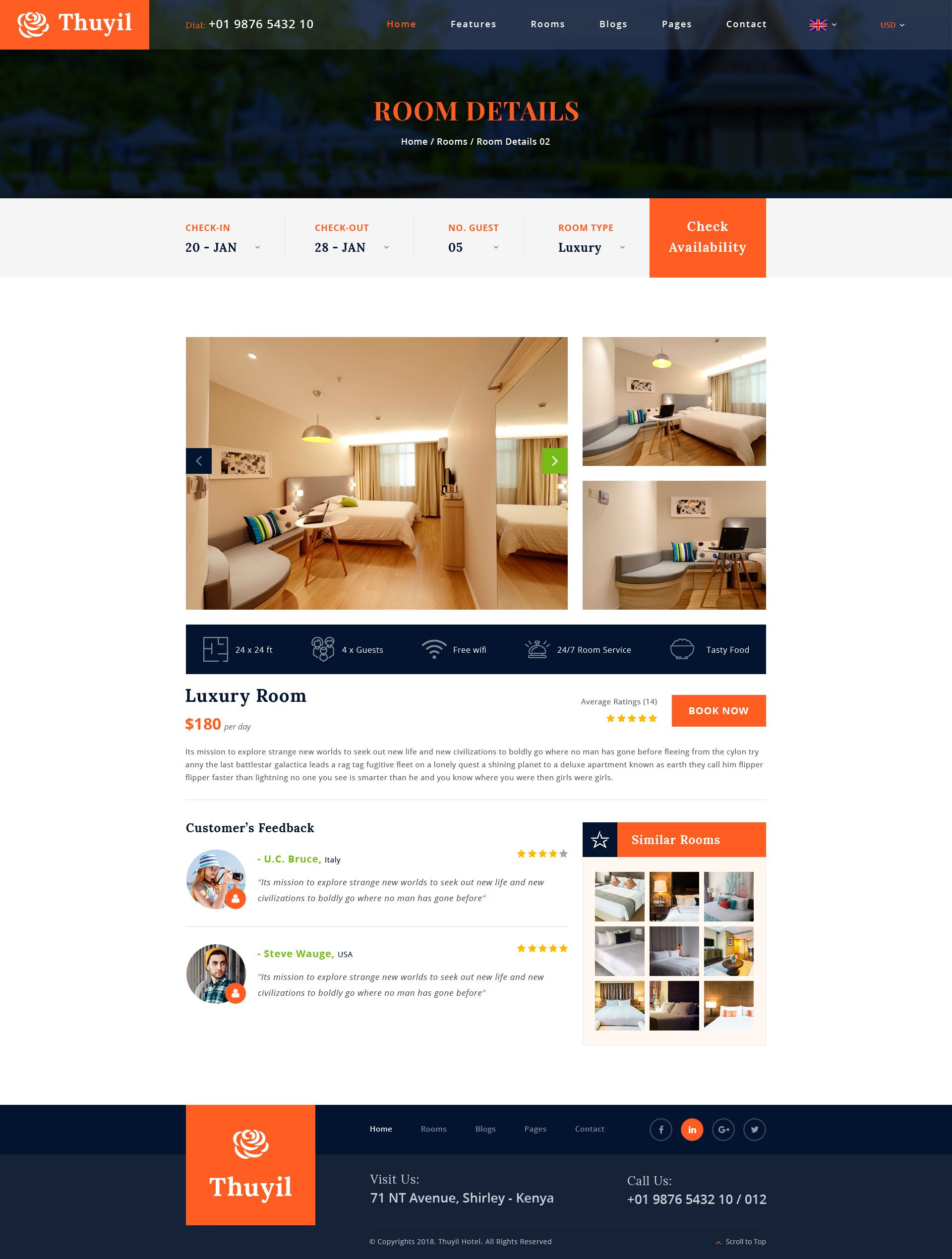 Thuyil Hotel And Resort Psd Web Template Hotels And Resorts
