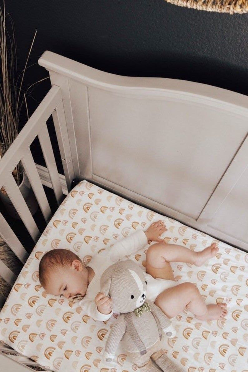 LONDON RAINBOWS CRIB Bedding- Fitted Sheets, Change Pad