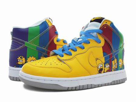 Cartoon High Top Nike Dunk The Simpsons Rainbow Colors Fast Shipping