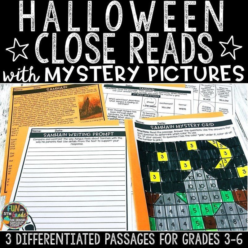 Halloween Close Reading Comprehension w/ Mystery Picture