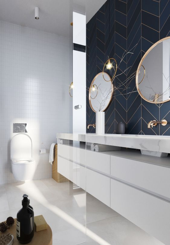 Glamorous and exciting luxury bathroom interior decor needs the perfect lighting fixture.   See our entire collection at luxxu.net #bathroom #interiordesign #luxury #luxuryhomes #bathroomideas #lighting #architecturallightingdesign