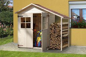 Weka Abri de jardin en bois avec abri à bûches 357A naturel   tuin ...