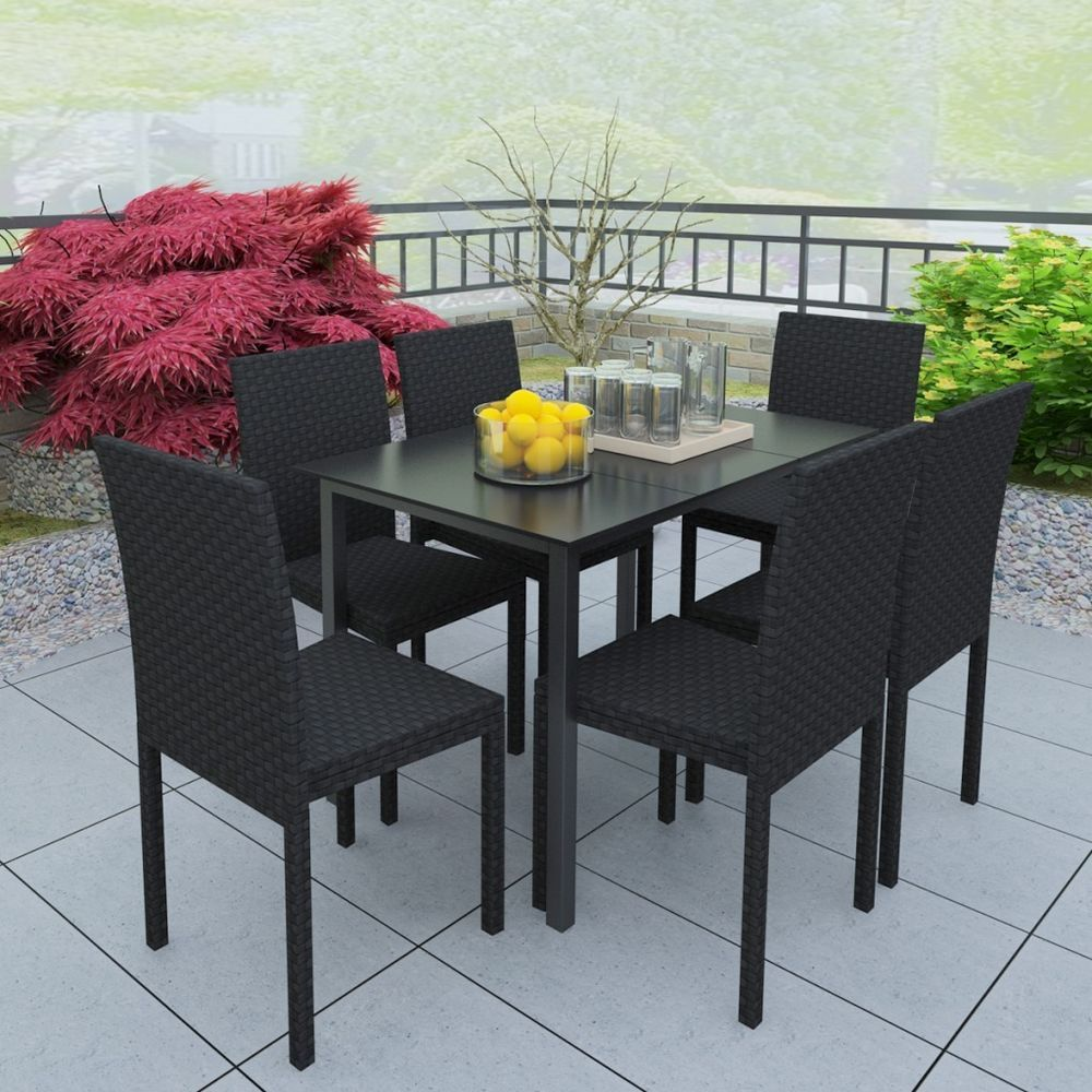 this garden rattan furniture set coming complete with 1 table and 6
