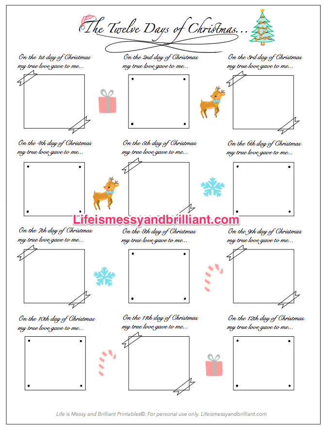 photo regarding 12 Days of Christmas Printable Templates called Absolutely free 12 Times of Xmas Bullet Magazine Printable Bullet