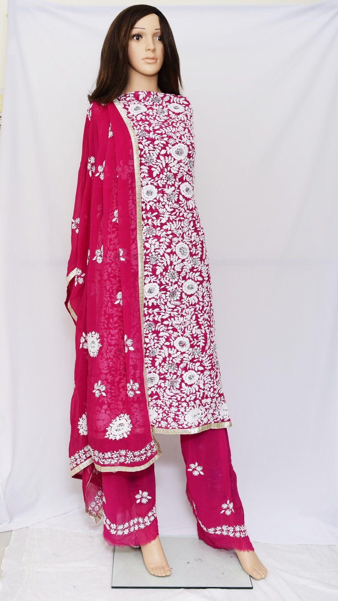 S.K. Ethnic India Pink Magenta Heavy Hand Embroidered Georgette Full Salwar Kameez Suit With ...