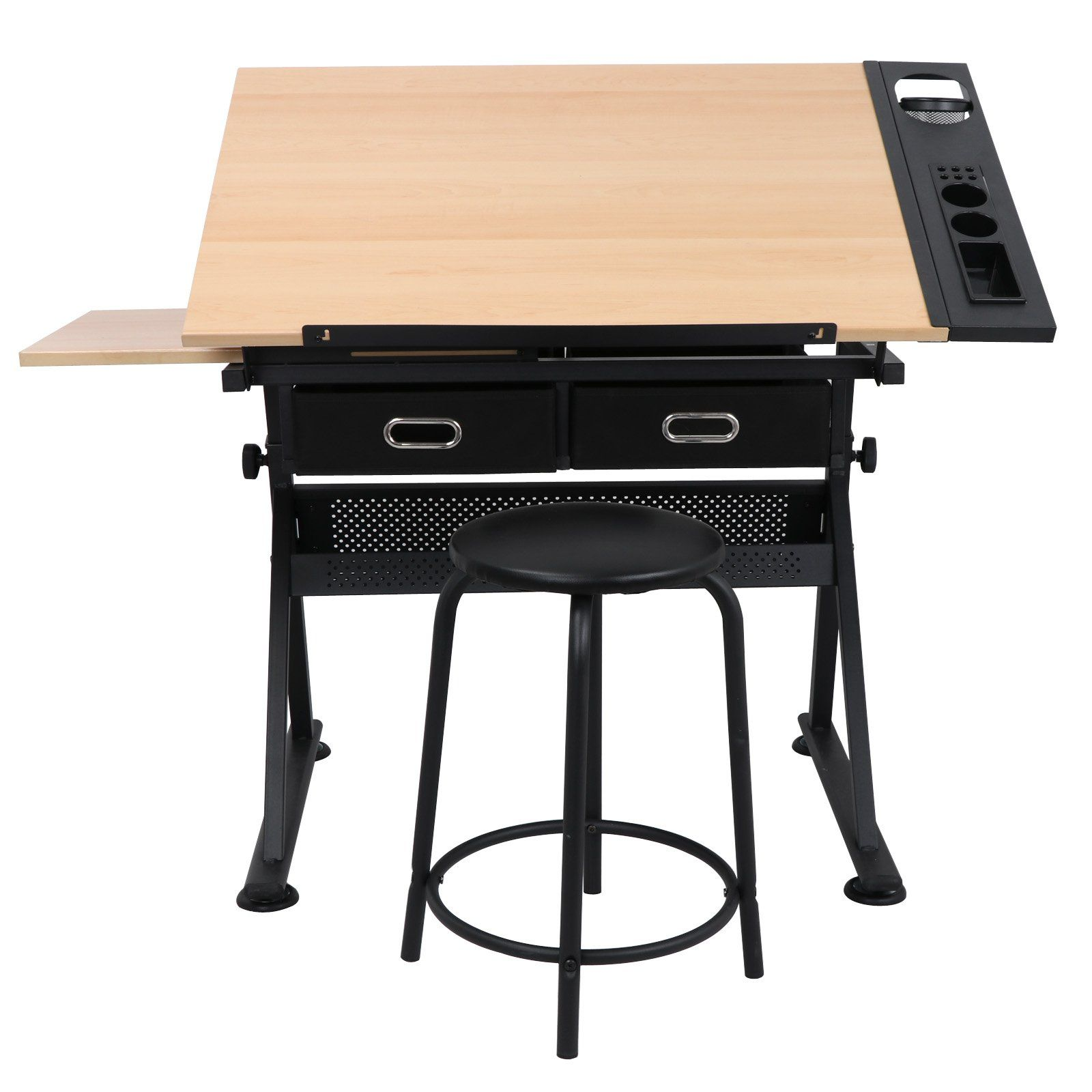 Zeny Drafting Desk Drawing Table Desk Tiltable Tabletop Adjustable Height W Stool And Drawer For Reading Writing Art Craf Drawing Table Desk Drawing Table Desk