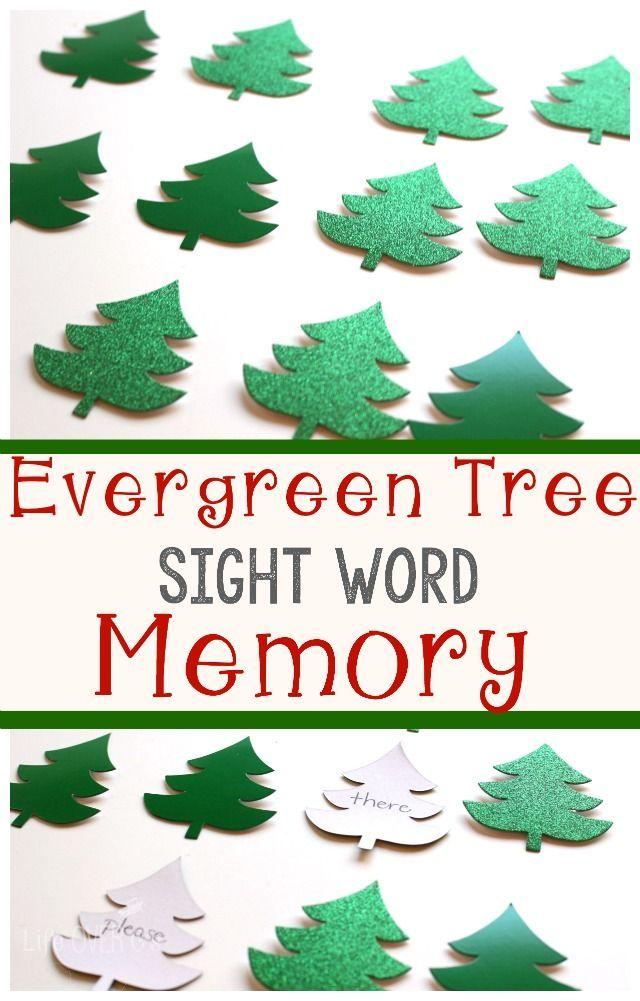 Christmas Tree Sight Word Memory Game Life Over Cs Evergreen tree sight word memory game for kids Make a sight word memory game that is completely customizable for my stu...