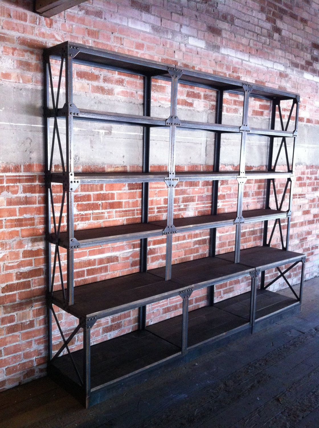 Vintage industrial ironworker shelf bookcase fixture french