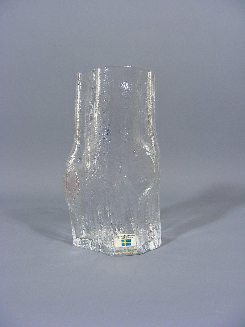 Vintage Lindshammar Glass Bark Tree Trunk Vase Christer Etsy Glass Vase Vintage Tree