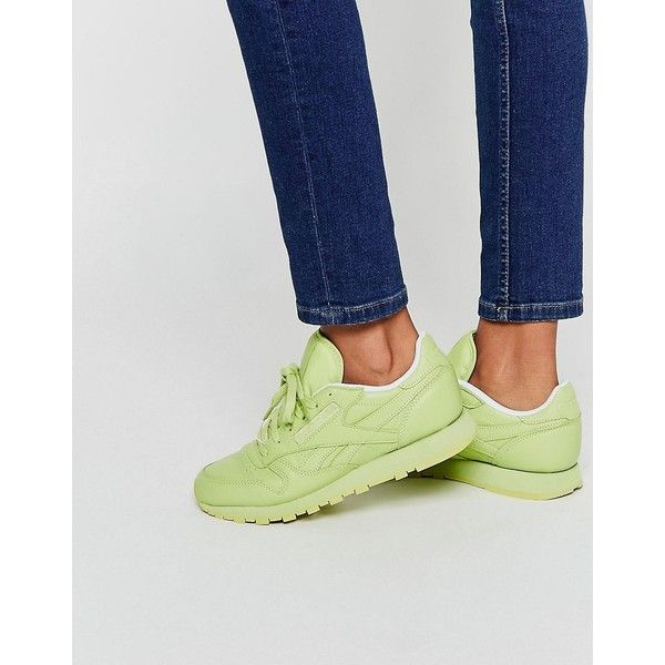 Reebok Stunning Green Classic Leather Sneakers ($96) ❤ liked on Polyvore featuring shoes, sneakers, green, green leather sneakers, lace up sneakers, green shoes, reebok trainers and leather shoes
