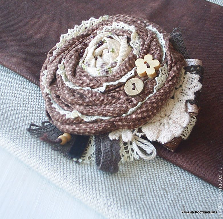 """Купить Брошь текстильная в стиле бохо """"В гостях у бабушки""""(2) - коричневый, брошка"""