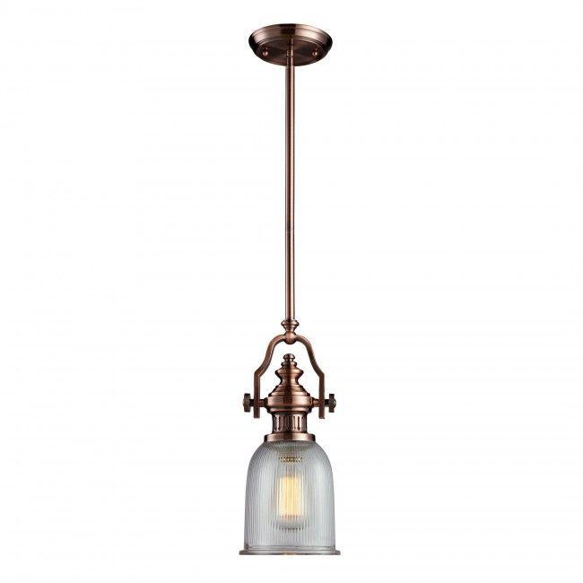 Landmark Lighting Chadwick 1 Light Pendant With Antique Copper Finish 66751