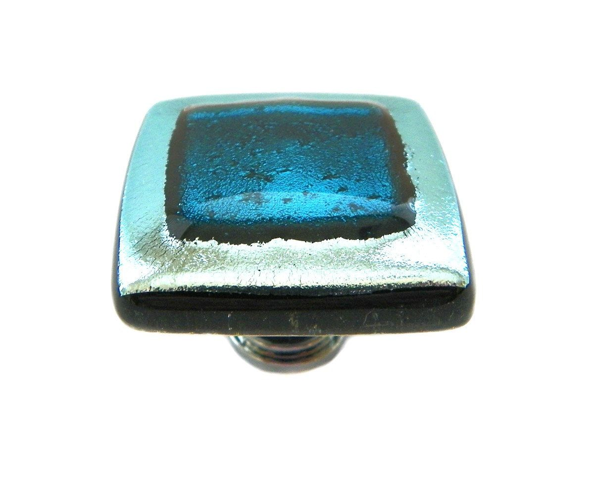 Elegant Glass Cabinet Knob in Silver and Teal by UneekGlassFusions ...