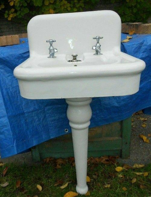 Best Price 238 0 Antique 1920 Burton Porcelain Pedestal Bathroom Sink W Bells Whistles Very Old Stuff For Sale Vint Vintage House Antique Cast Iron Sink