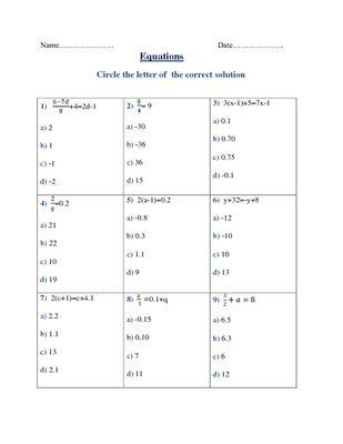 Equations Quiz Fun Math Sixth Grade Math Equations