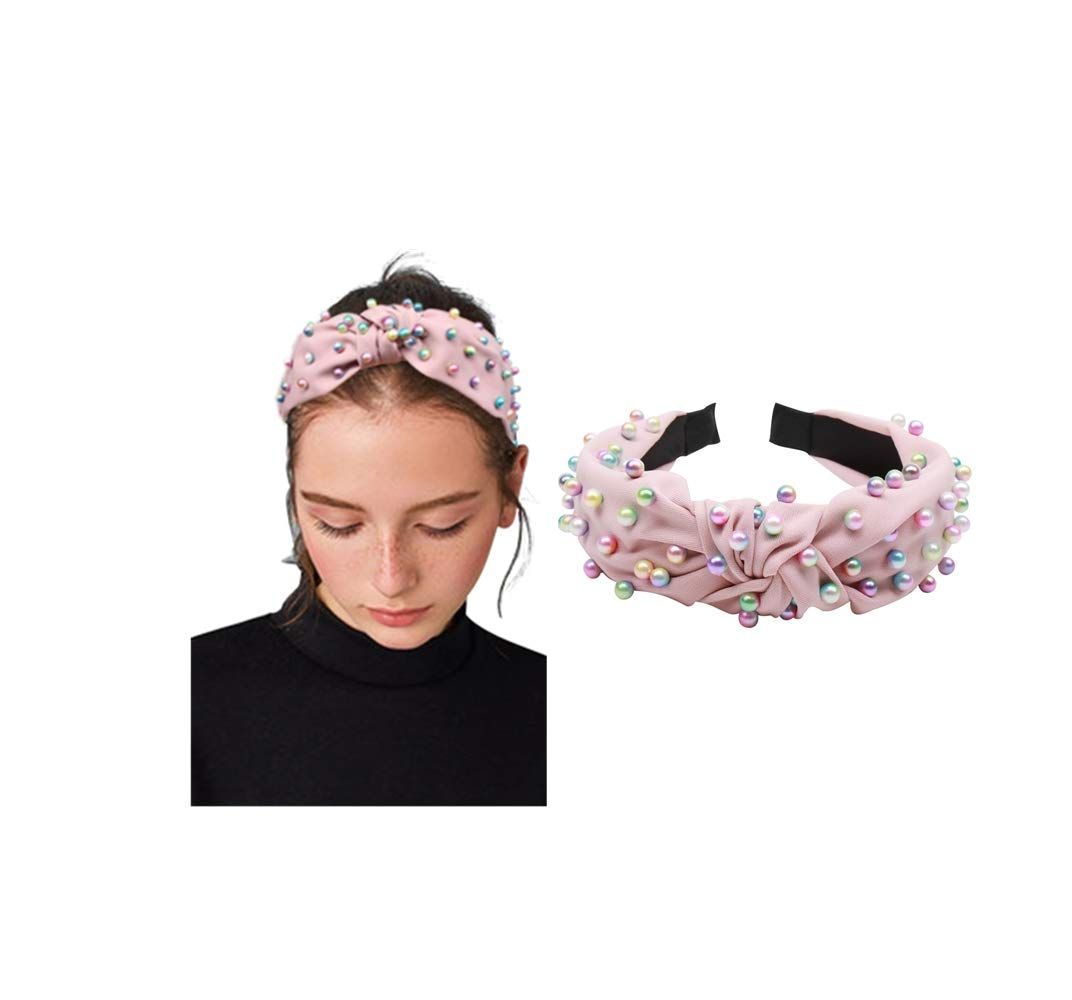 Beautiful Women with Pearl Knotted Headband Hair Bands Hair Hoops Accessories