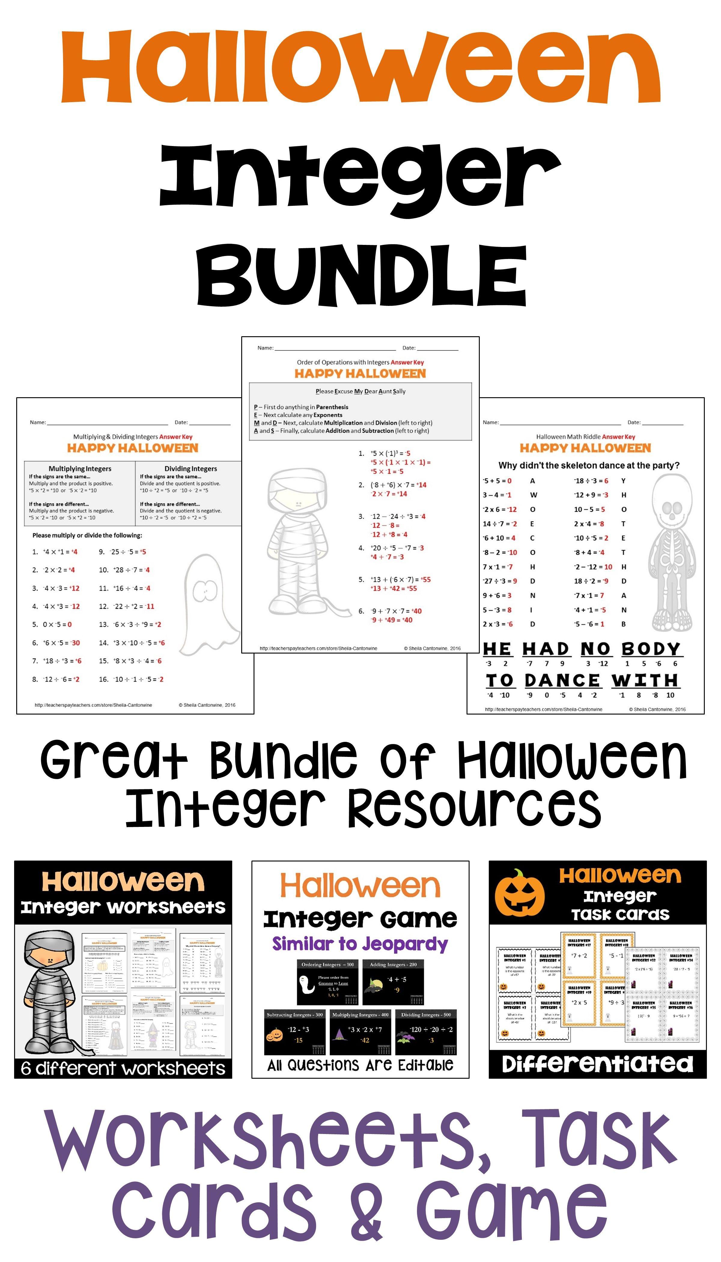 Halloween Integer BUNDLE with Worksheets, Task Cards, BOOM