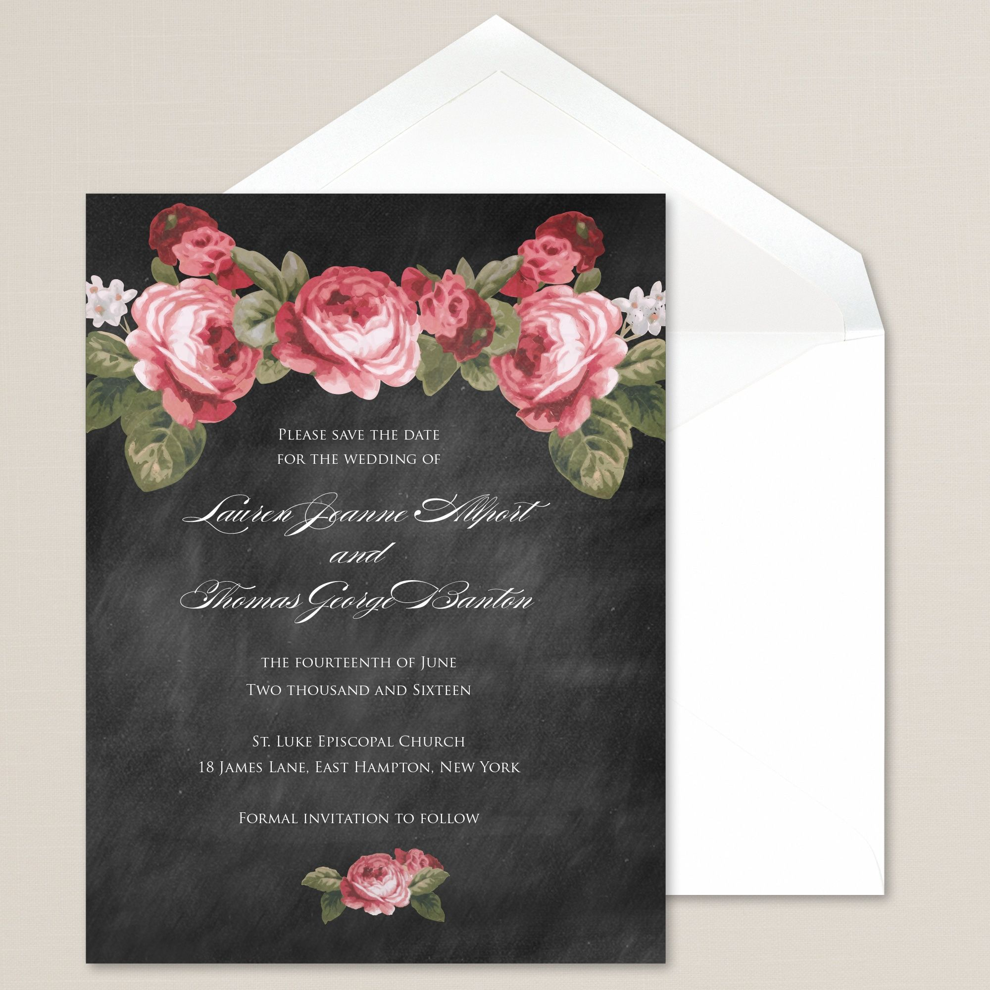 Precious Peony Chalkboard Save the Date Card | #exclusivelyweddings