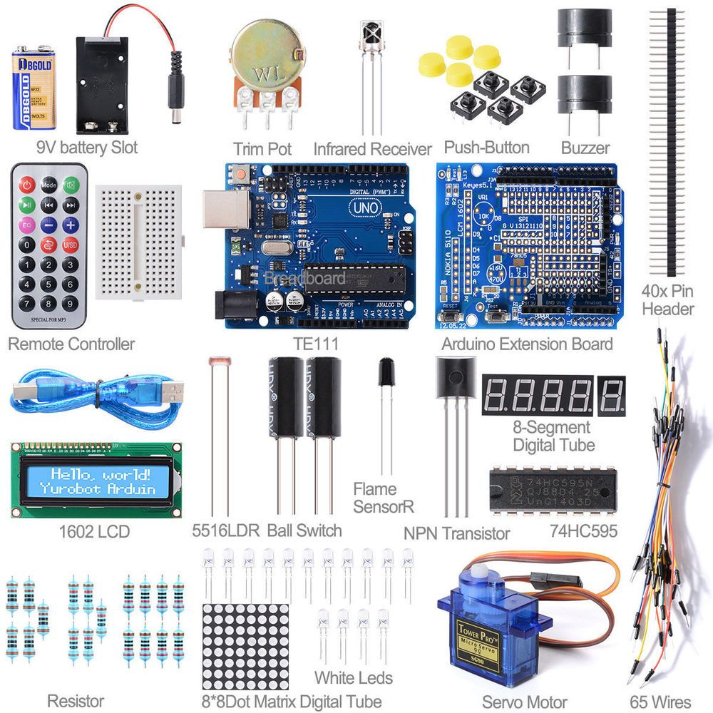 Uno r starter kit lcd step motor breadboard led