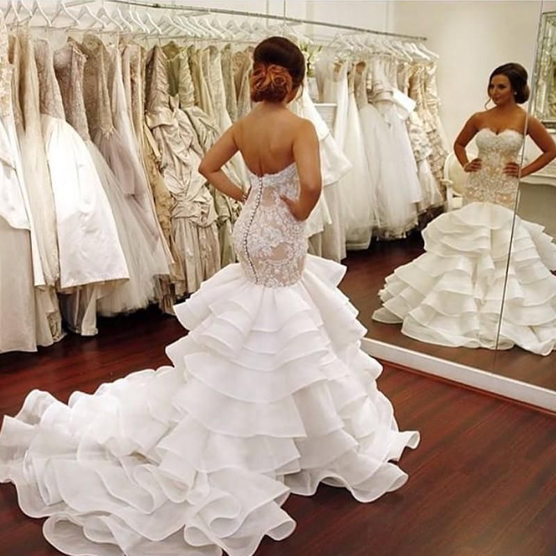 Sexy Mermaid Wedding Dresses Off The Shoulder Tiered Skirts Open Back Bridal Gowns Lace Ruffles Pearls Modest Robe De Mariage Gowns For Wedding In Wedding Dress From Wanyuweddingdress, $231.16  Dhgate.Com