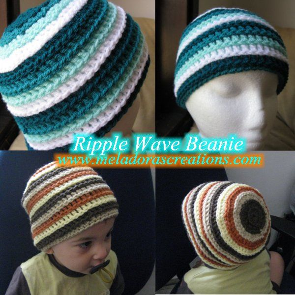 Ripple Wave Beanie - Free Pattern and Tutorials - by Meladora\'s ...