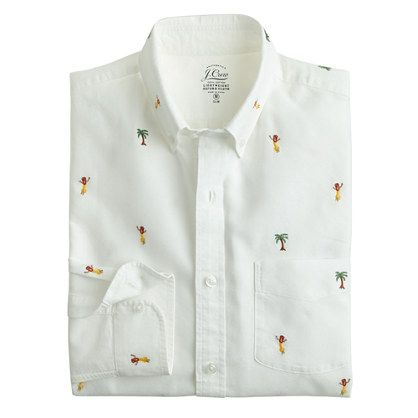Slim lightweight oxford cloth shirt with embroidered hula and palms
