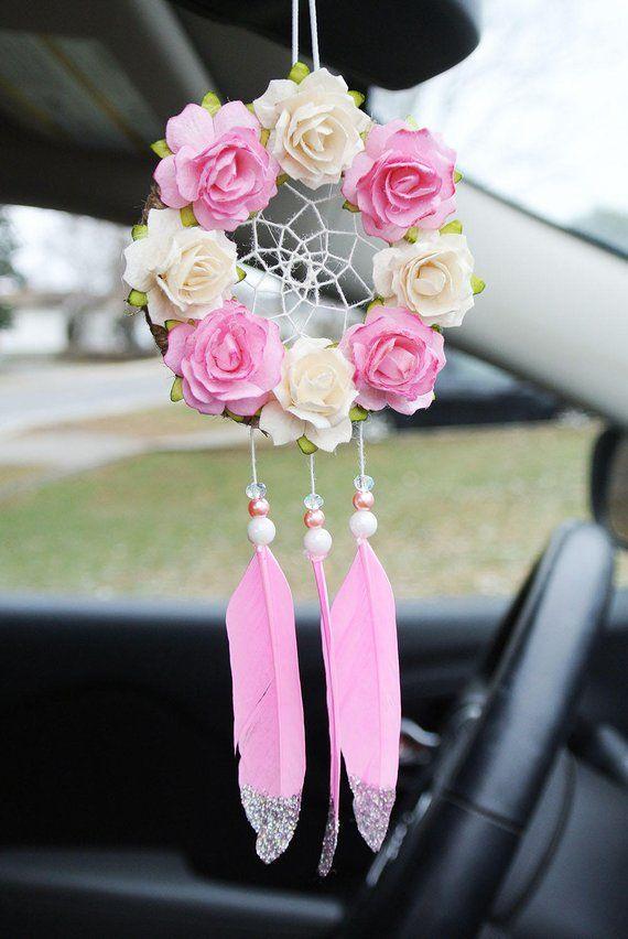 Rear View Mirror Dream Catchers, Pink Dream Catcher, Pink Car Accessories, Glitter Car, Car Dreamcat