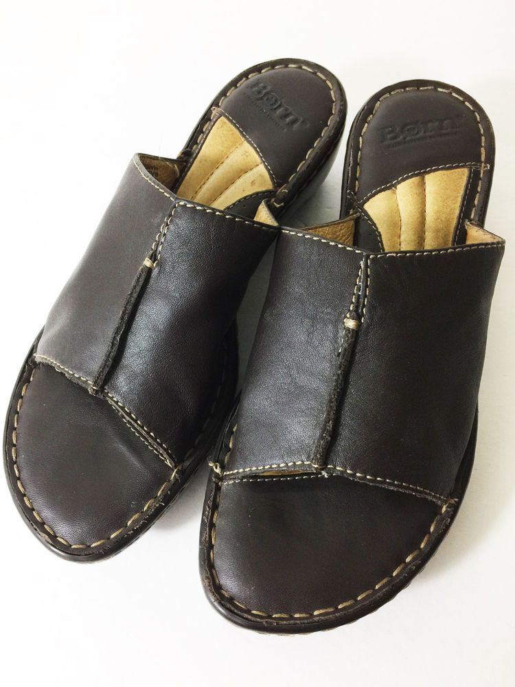 81c67ced243 Womens BORN Slip On Shoes Brown Leather Wedge Open Toe Sandal Slides Size 8  M  Clarks  Slides  Casual